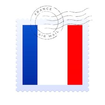 Znak pocztowy francji. znaczek pocztowy flagi narodowej na białym tle na białe tło wektor ilustracja. pieczęć z oficjalnym wzorem flagi kraju i nazwą kraju