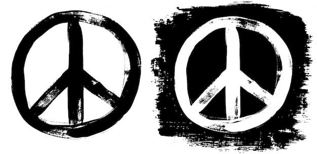 Znak pokoju grunge czarny biały tee graffiti doodlie szkic brudny styl symbol
