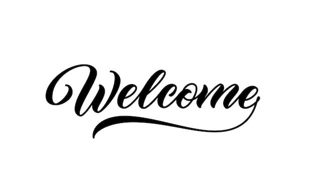 Znak powitalny. odręczny napis. witaj, kaligraficzny tekst.