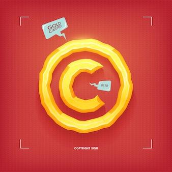 Znak praw autorskich. element kroju złoty klejnot. odlew złota. ilustracja.