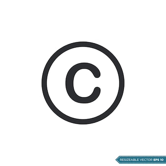 Znak praw autorskich ui / ux ikona wektor symbol ilustracja projekt
