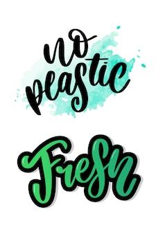 Znak produktu bez plastiku na etykietach, naklejki bez plastikowego napisu