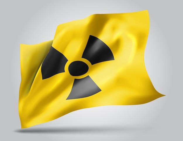 Znak promieniowania na żółtym tle w siatce w stylu flagi wektora 3d