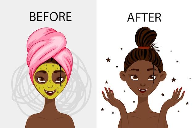 """Znak """"przed"""" i """"po"""" masce kosmetycznej."""