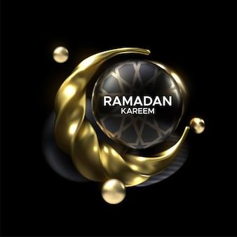 Znak ramadan kareem z czarnymi i złotymi bąbelkami i półksiężycem
