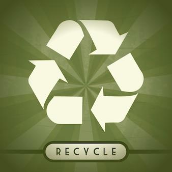 Znak recyklingu na zielonym tle wektor illutration
