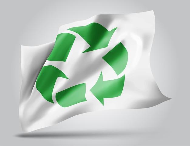 Znak recyklingu odpadów na wektor 3d flaga na białym tle