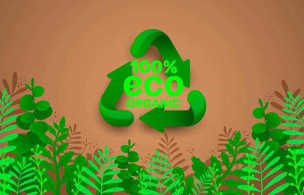 Znak recyklingu trójkątne zapętlone strzałki zielona ikona białe tło wektor