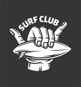 Znak ręką shaka. poczuj się swobodnie w klubie surfingowym