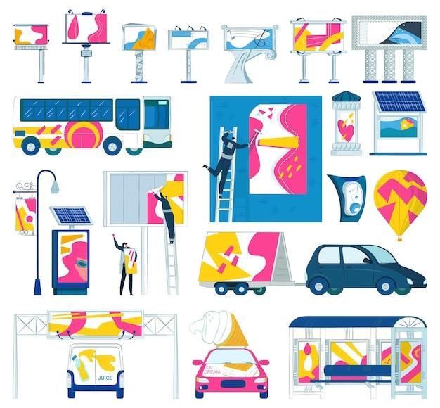 Znak reklamowy baner reklamowy na zewnątrz zestaw ilustracji wektorowych marketing z billboardem pustym ...