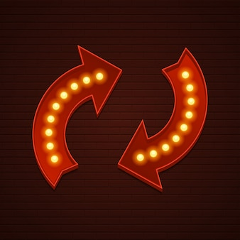 Znak retro showtime arrows żarówek oznakowania kinowego