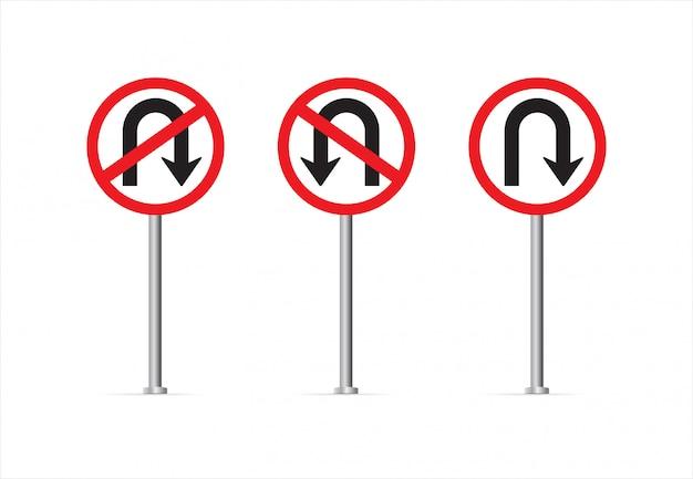 Znak skrętu i znak zakazu skrętu.