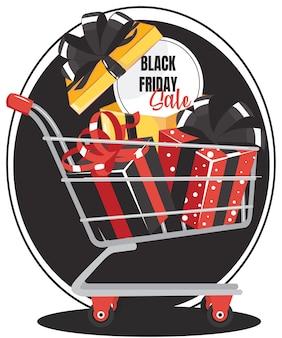 Znak sprzedaży w czarny piątek w wózku na zakupy w supermarkecie z pudełkiem