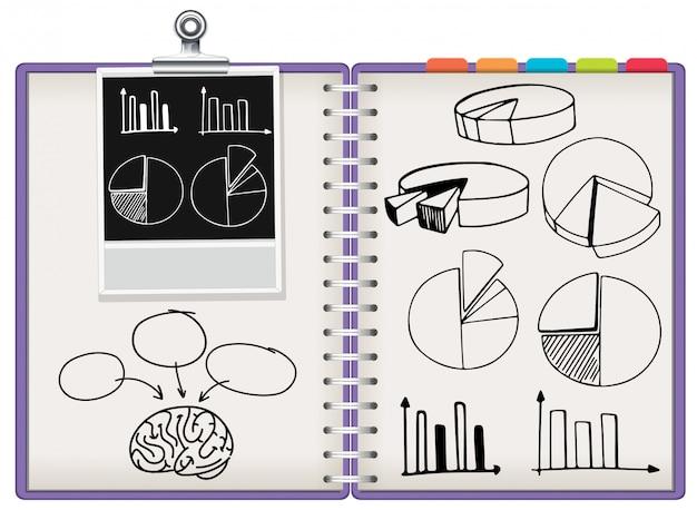 Znak statystyki na notebooku