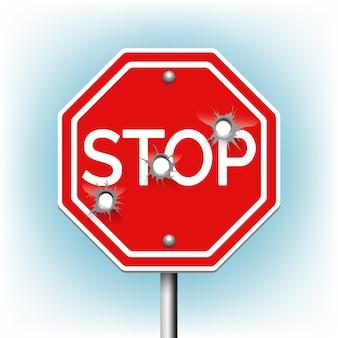 Znak stop z dziurami po kulach. ostrzeżenie i niebezpieczeństwo, bullethole i apertura, znak perforacji