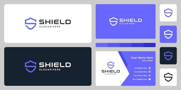 Znak streszczenie tarczy. logo litery s i wizytówka szablon projektu.