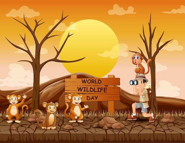 Znak światowego dnia dzikich zwierząt z chłopcem odkrywcą i małpami