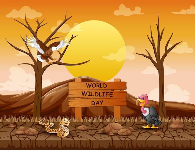 Znak światowego dnia przyrody ze zwierzętami w suchym lesie