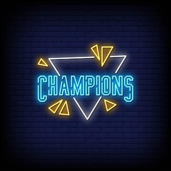 Znak tekstowy neon mistrzów