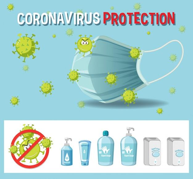 Znak tekstowy ochrony przed koronawirusem z motywem koronawirusa i produktami odkażającymi