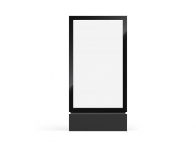 Znak totemu, lightbox lub pionowy billboard w formacie miejskim i oznakowanie light box w realistycznej ramce totemu