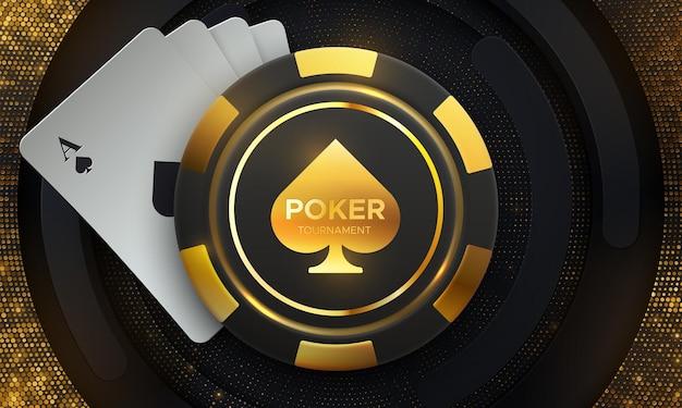 Znak turnieju pokera z kartami do gry i chipem do gry