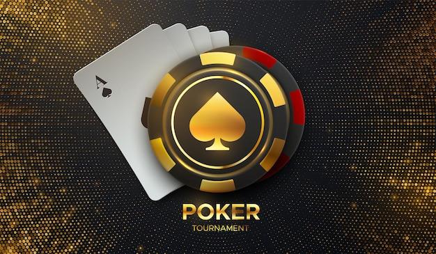 Znak turnieju pokera z kartami do gry i żetonami do gry