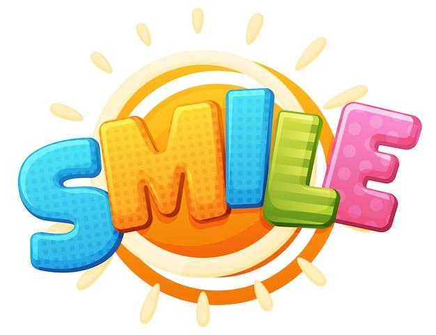 Znak uśmiechu. kolorowy napis logo, obszar gry, bąbelkowe litery tęczy. jasny, napis na białym tle