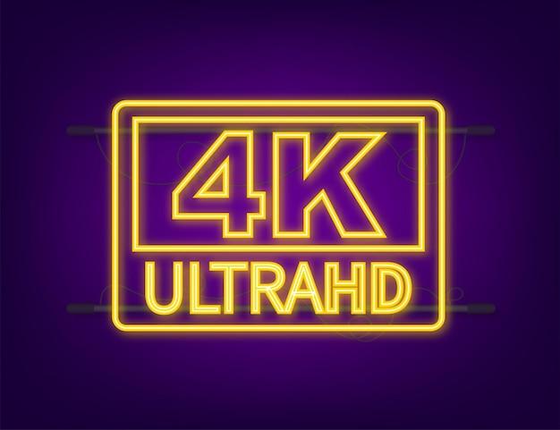 Znak ustawień wideo 4k ultra. neonowa ikona. czas ilustracja wektorowa.