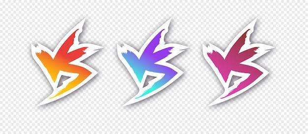 Znak versus ustawia nowoczesny styl gradientu z cieniem