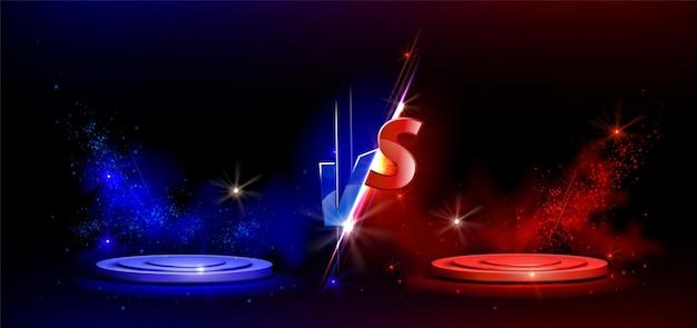 Znak versus vs z niebieskimi i czerwonymi pustymi podiumami lub cokołami
