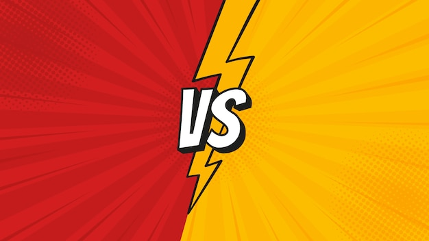Znak vs z błyskawicą na tle walki w płaskiej stylistyce komiksowej z półtonami, błyskawica do bitwy, sport, zawody, zawody, mecz.