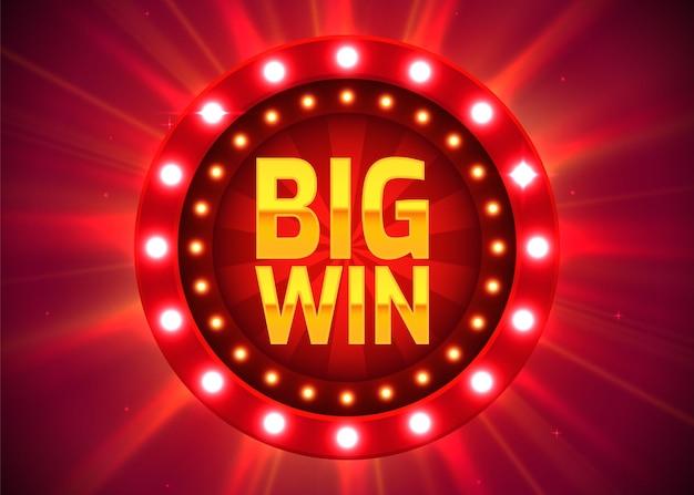 Znak wielkiej wygranej z tekstem: duża wygrana. koncepcja jackpota