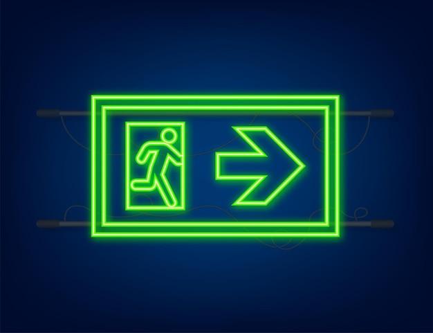 Znak wyjścia awaryjnego. symbol ochrony. ikona ognia. neonowy styl. ilustracja wektorowa.