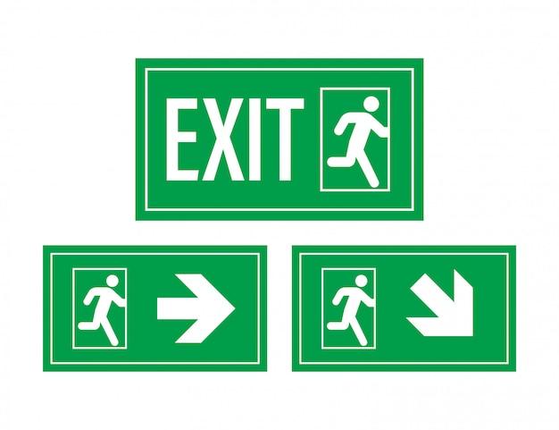 Znak wyjścia awaryjnego. symbol ochrony. ogień . ilustracja.