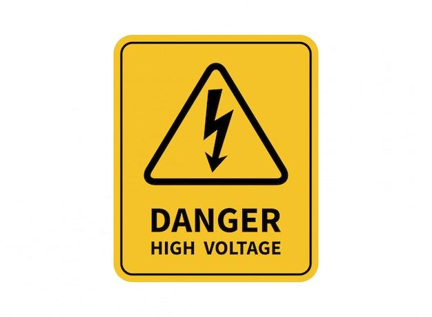 Znak wysokiego napięcia niebezpieczeństwa. znak informujący o niebezpieczeństwie.