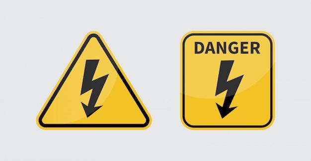 Znak wysokiego napięcia. znak informujący o niebezpieczeństwie.