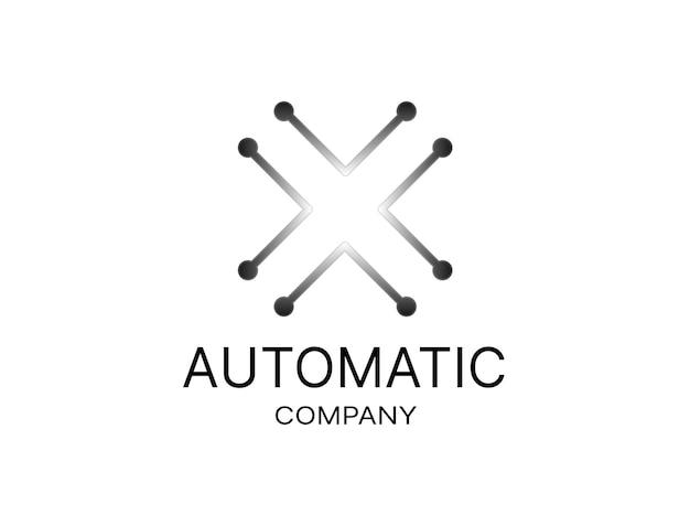 Znak x jako początkowe logo x z motywem metalowym