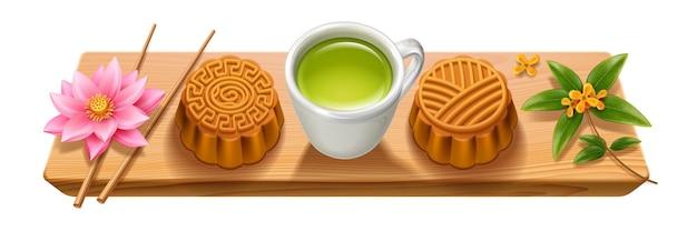 Znak z drewnianą deską i ciasteczkami księżycowymi na jesienną deskę z jedzeniem z pałeczkami i herbatą