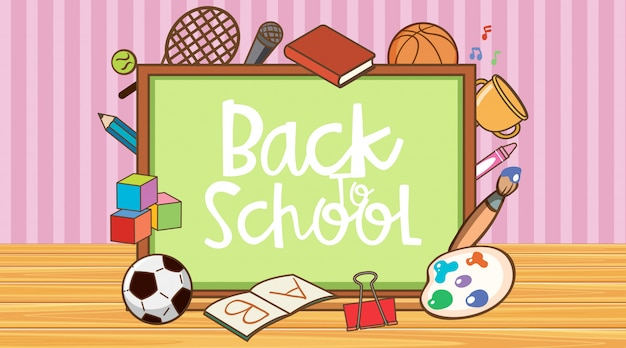 Znak z powrotem do szkoły z elementami tablicy i szkoły
