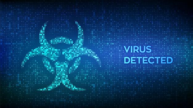 Znak zagrożenia wirusem komputerowym wykonany za pomocą kodu binarnego. wykryto wirusa. zhakowany