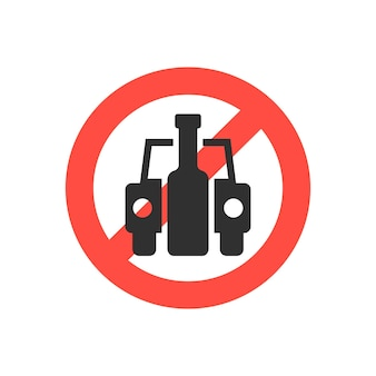 Znak zakazu jazdy pod wpływem alkoholu. pojęcie afisz, pijący, zły nawyk, ludzkie problemy, nietrzeźwy. na białym tle. płaski trend w nowoczesnym stylu projektowania ilustracji wektorowych