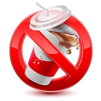 Znak zakazu napojów na białym tle