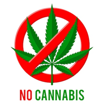 Znak zakazu z liściem konopi.