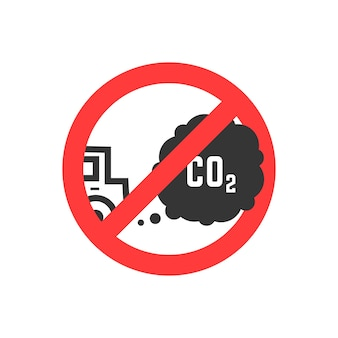 Znak zakazujący emisji dwutlenku węgla. pojęcie ekosystemu, niebezpieczeństwo, uszkodzenie, znak drogowy, smog, niebezpieczeństwo, paliwo. na białym tle. płaski trend nowoczesny projekt logo ilustracja wektorowa