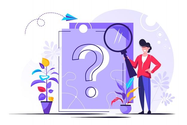 Znak zapytania na dokumencie. biznesowa kobieta zadaje pytania