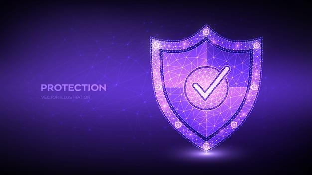 Znak zaznaczenia na tarczy bezpieczeństwa. koncepcja biznesowa ochrony lub bezpiecznego. cyberbezpieczeństwo i bezpieczeństwo sieci.