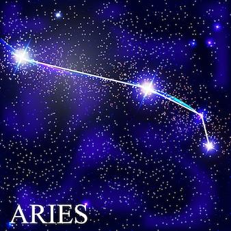Znak zodiaku baran z piękne jasne gwiazdy na tle kosmicznej ilustracji nieba