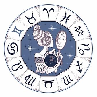 Znak zodiaku Bliźnięta piękna dziewczyna