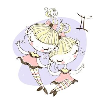 Znak zodiaku bliźnięta. zabawny horoskop dla dzieci w stylu doodle.